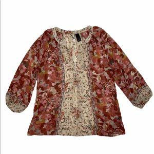 BKE 3/4 Sleeve Floral Top